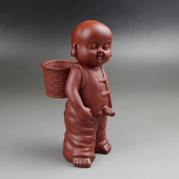 紫砂茶宠童子摆件送子娃娃陶瓷小孩茶玩可爱小泥人彩砂泥娃娃 采茶