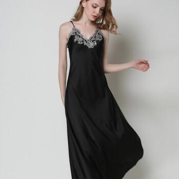 黑色花边吊带情趣裙女加长款睡裙v黑色丝绸质女友性感连衣裙春夏睡衣蕾丝看情趣穿图片