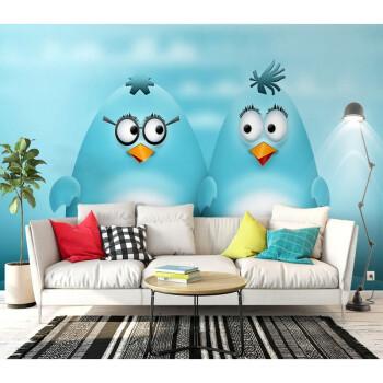 儿童房可爱卡通企鹅背景墙北欧手绘卡通动物可爱企鹅墙纸壁画 拼接无