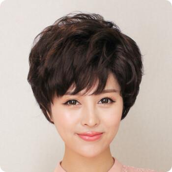 贝丽丝假发 女士假发短卷发 蓬松修脸 假发短发圆脸高温丝斜刘海发套