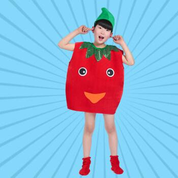 六一环保服装儿童时装秀水果蔬菜亲子装手工制作走秀演出服 西红柿