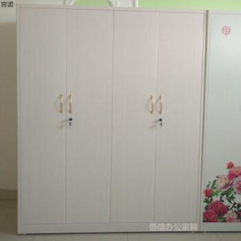 钢制铁皮衣柜家用印花柜拆装被褥柜阳台柜卡通衣柜铁皮更衣柜 4门白松