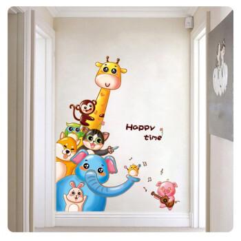 卡通动物墙贴卧室儿童房贴画幼儿园教室布置玻璃门贴窗贴双面贴纸 xl