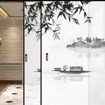 阳台窗户静电膜风景玻璃门推拉移门图案定制透光不透明磨砂玻璃膜定做