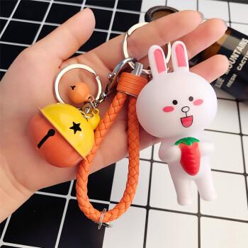 书包收纳创意汽车钥匙扣皮绳男女可爱铃铛挂饰挂饰男士锁匙扣 萝卜兔