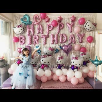 金之瑞生日布置装饰背景墙女宝宝宴会气球男孩主题儿童百日周岁派对