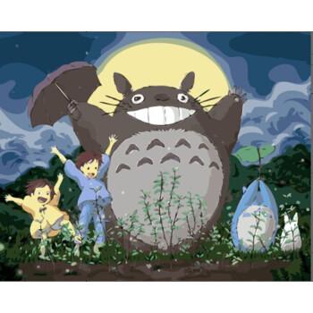 兰缪 宫崎骏diy数字油画卧室动漫卡通动物大幅手绘油彩装饰画龙猫礼物