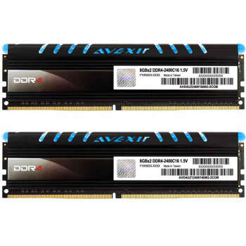 宇帷(AVEXIR) CORE系列 蓝色 DDR4 2400 16GB(8GB×2条)台式机内存(AVD4UZ124001608G-2COB)