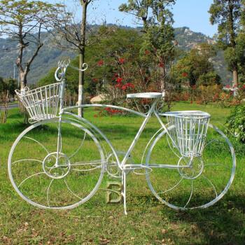 欧式铁艺自行车花架 落地花盆架 创意玻璃橱窗落地窗装饰花架子大图片