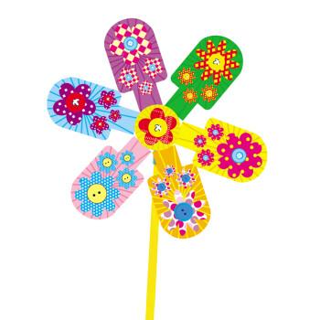 幼儿园手工制作材料包小班粘贴画 儿童diy风车 海绵纸