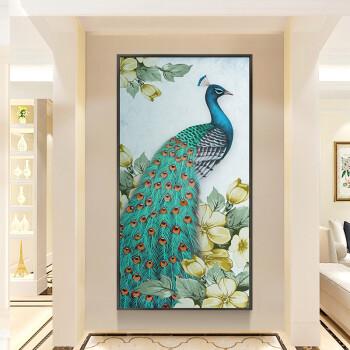 乐逸新中式竖版家居风水挂画玄关装饰画客厅过道走廊壁画山水画 绿色