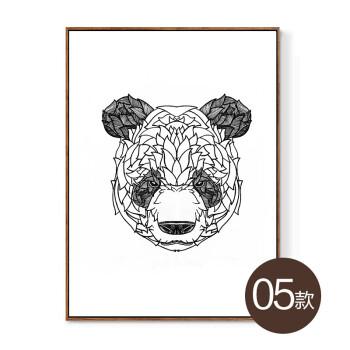 黑白简约卡通动物字母风装饰画 客厅卧室餐厅背景墙装饰抖音 深灰色