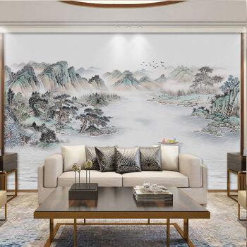 故乡玫瑰(hometown rose)新中式山水壁纸电视背景墙壁画意境影视墙图片