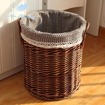田园编制脏衣篮竹筐编织篮衣物篮子圆形 (无盖)磨光棕筐+深咖格衬布图片