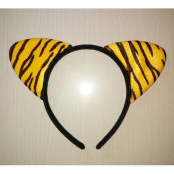 动物头饰猫耳朵发箍豹纹猫老虎耳朵礼品 黑底虎纹猫