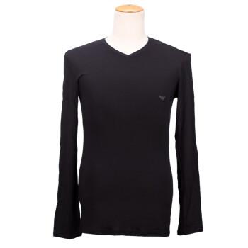 EMPORIO EA7 阿玛尼 男款黑色棉氨纶V领长袖打底衫