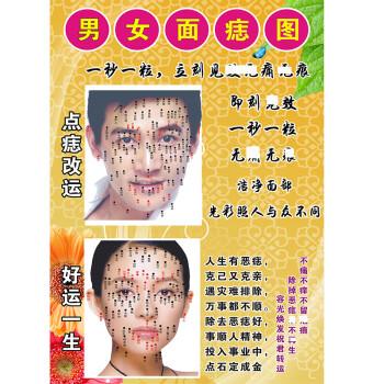 3件7折 面部微整形海报眉运眉运四字经装饰挂画 点痣图片 男女点痣图图片