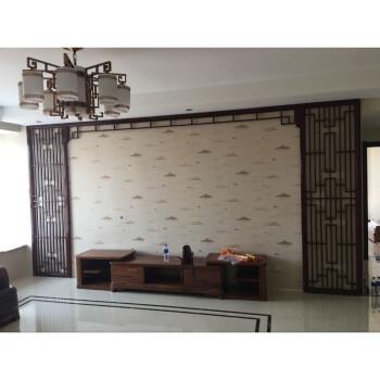东阳木雕新中式电视背景墙装饰实木花格镂空格栅隔断屏风吊顶格子图片