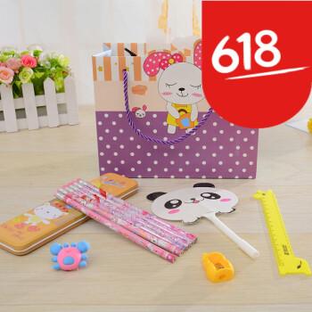 【特惠】创意卡通儿童文具小学生学习用品组合套装礼盒 紫色