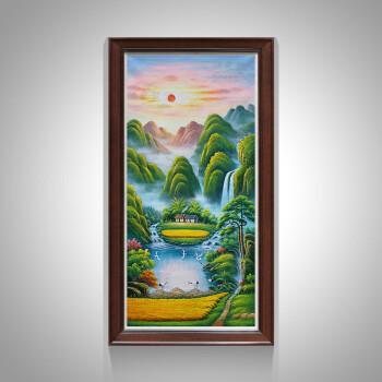 纯手绘油画竖版入户玄关装饰画招财聚宝盆走廊过道墙画壁画山水风景画