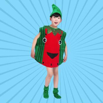 六一环保服装儿童时装秀水果蔬菜亲子装手工制作走秀演出服 红西瓜