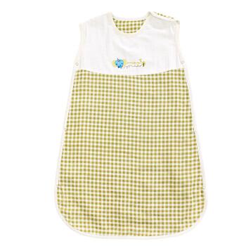 象宝宝(elepbaby)婴儿睡袋 绣花小象纱布背心睡袋 绿 75x38CM