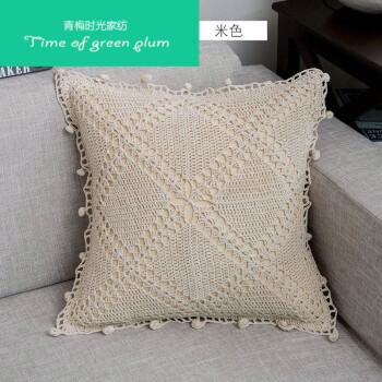 手工钩针勾花棉线镂空编织客厅沙发抱枕靠垫套含芯 钩针-风铃草(米色)