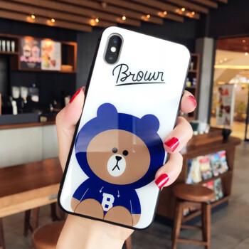 苹果x卡通玻璃小熊iphone7手机壳可爱情侣8plus潮牌6s抖音新款女 苹果图片