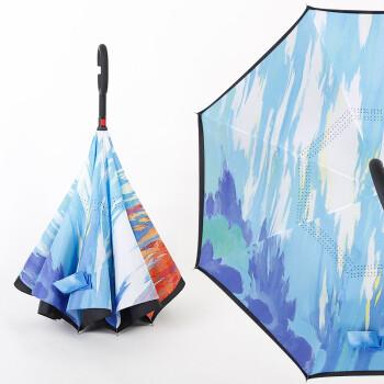 长柄雨伞反向伞双层免持式男女晴雨两用伞创意汽车反开伞 反向-油画
