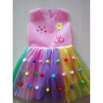 儿童环保演出服装无纺布塑料袋手工制作衣服时装走秀亲子装公主裙h