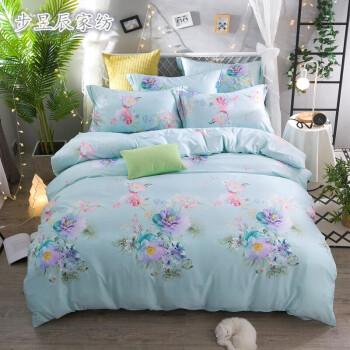 春夏新款四件套床上用品床单被套 花样美季-绿 220*240cm图片
