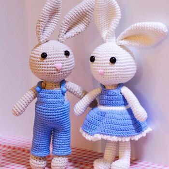18新款 手工娃娃diy材料包钩针编织玩偶制作 长耳兔 情侣礼物 蓝兔子