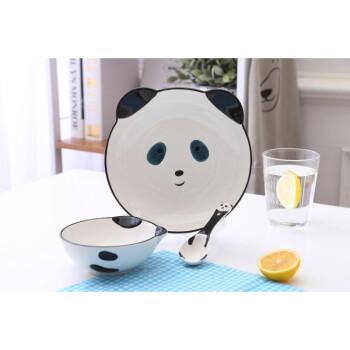 可爱手绘卡通动物米饭甜品碗日式陶瓷儿童餐具套装长颈鹿兔子 熊猫小3