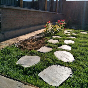 瓷砖 惠维 汀步石青石板花园庭院防滑地砖草坪石不规则踏步石圆形脚