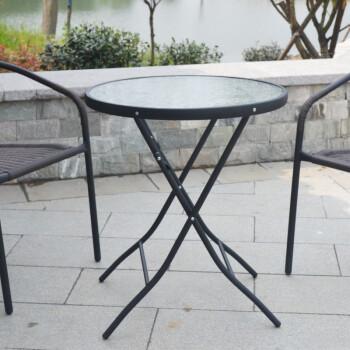 钢化玻璃圆桌子餐桌休闲洽谈桌 折叠桌户外阳台花园小圆桌正 60cm炭黑