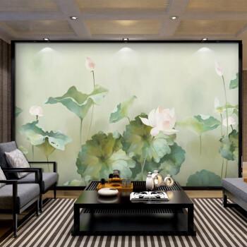 中式电视背景墙壁画简约大气荷花客厅影视墙复古怀旧壁纸无缝墙布