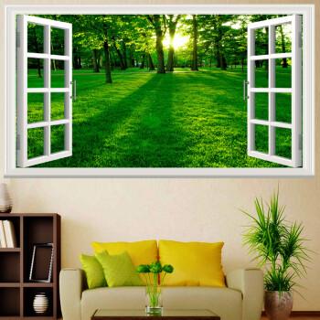 自粘3d绿色竹林风景贴画客厅沙发背景墙装饰画学生宿舍海报风景画