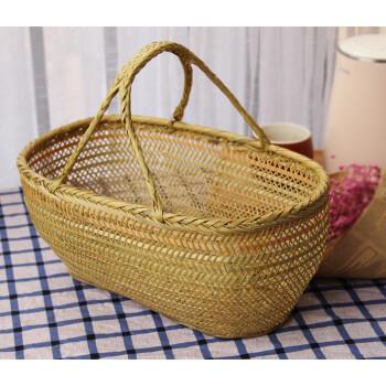 手提家用买菜篮子长方形厨房收纳篮编织水果蔬菜筐手工竹编竹篮 细长