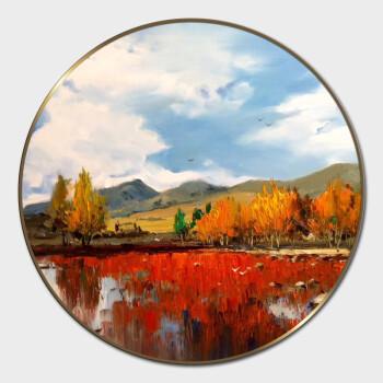 莆艺纯手绘现代抽象风景油画 圆形画框客厅书房餐厅挂