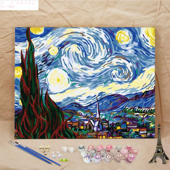 2件8折数字油彩画diy壁画丙烯画数字油画客厅动物花卉风景装饰画画 巧图片
