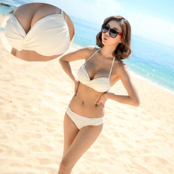 韩国大胸小胸纯色钢托聚拢女比基尼温泉模特艺考空乘考试泳衣 白色