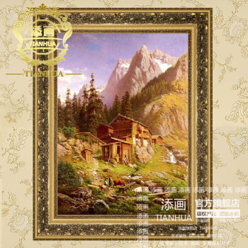添画 纯手绘手工油画 欧式玄关油画 有框画 田园山水风景油画 玄关