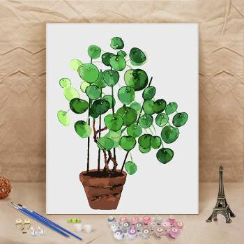 装饰画手绘填色画绿色植物减压画 青色 绿色植物23 6075彩色+黑/白