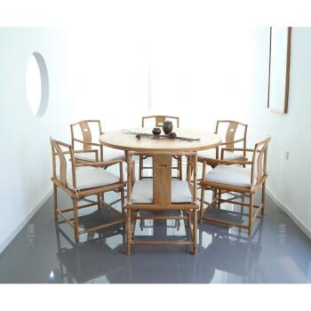禅意新中式家具餐桌茶楼会所包厢桌免漆榆木古茶桌圆 圆桌