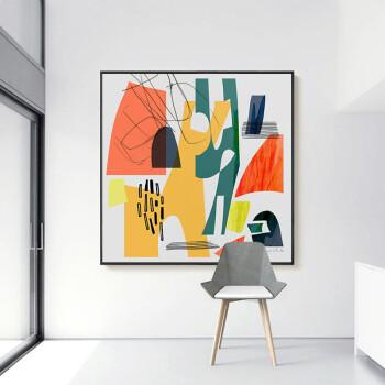 北欧壁画创意艺术墙面抽象画印象视觉图画 沙发背景墙有框画油画色彩