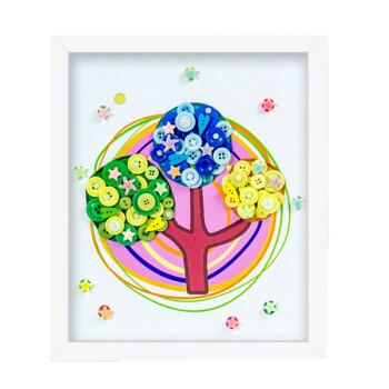 幼儿园儿童手工制作创意纽扣粘贴画花材料包含相裱框
