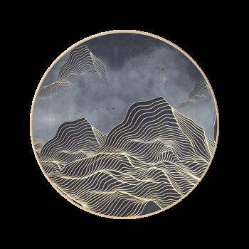 意境线条抽象画圆形新中式禅意挂画客厅玄关餐厅壁画圆框装饰画 m款