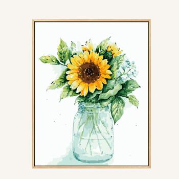 diy数字油画 客厅餐厅植物花卉现代简约数码填色手工绘油彩装饰画 瓶
