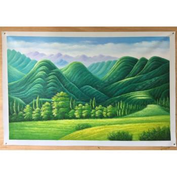 纯手绘欧式绿树山林风景巨人山油画酒店客厅办公室有山无水装饰画 a款