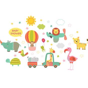 智汇 儿童房贴纸 儿童房卧室墙面卧室装饰墙贴画 幼儿园教室可爱动物